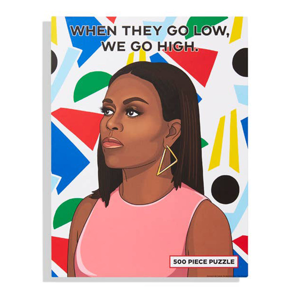 the found 500 piece when they go low we go high michelle obama jigsaw puzzle box front