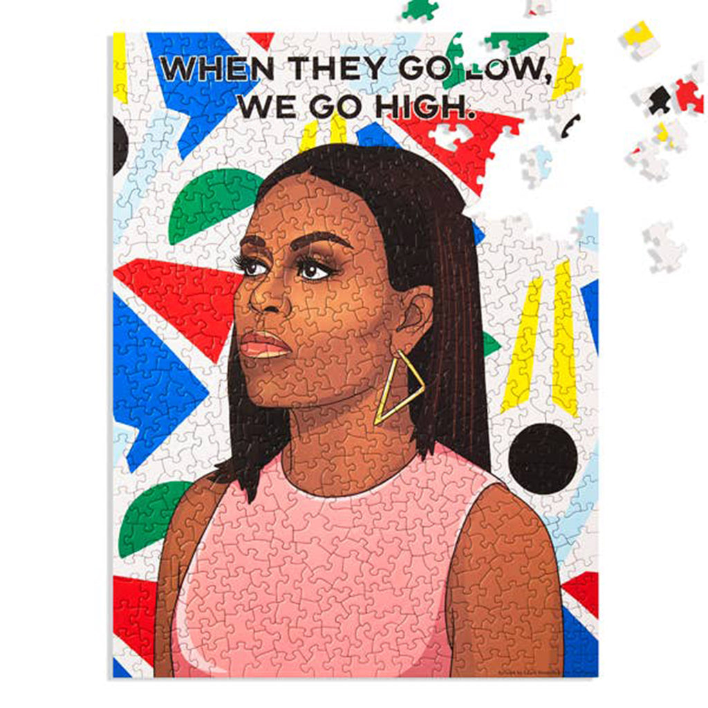 the found 500 piece when they go low we go high michelle obama jigsaw puzzle in progress