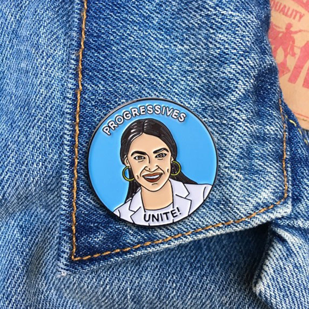 the found aoc alexandria ocasio cortez progressives unite enamel pin on denim jacket lapel