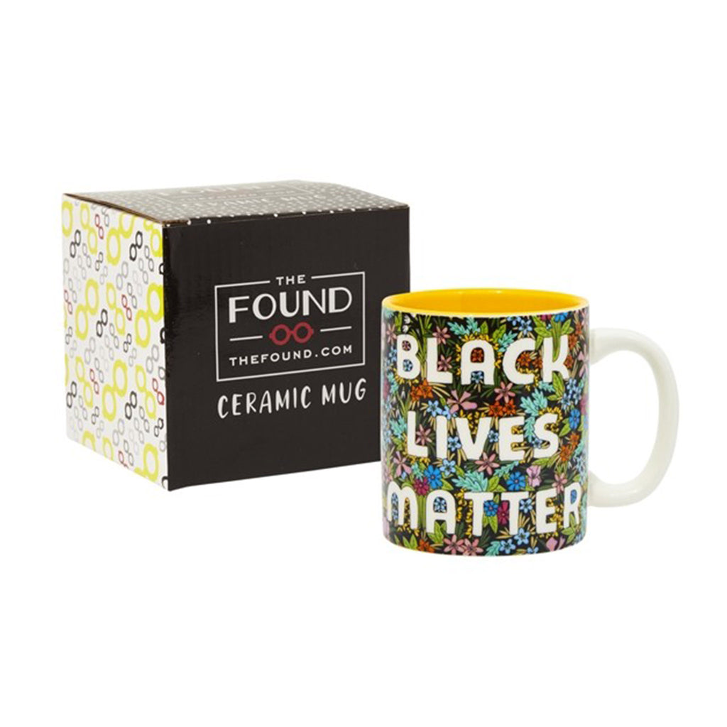 the found black lives matter wild flower print ceramic coffee mug with box