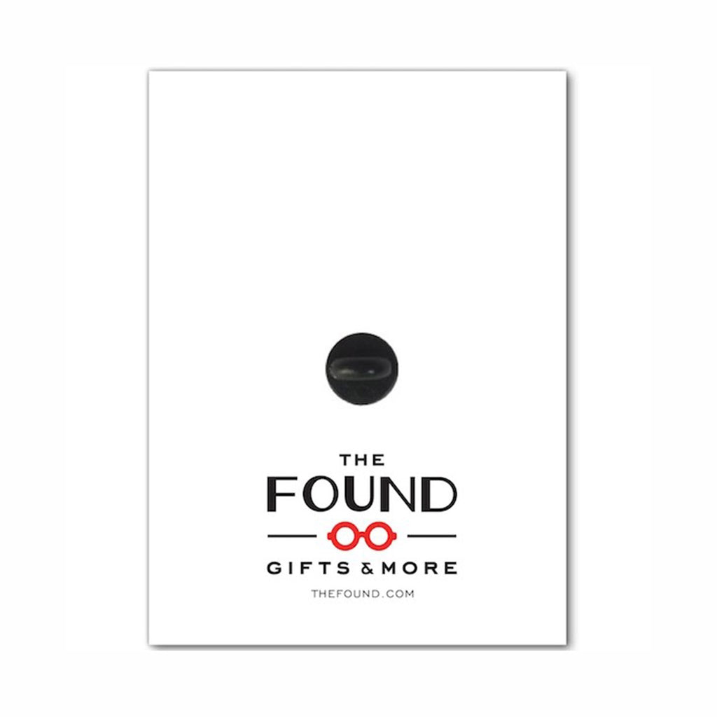 the found well behaved women rarely make history quote in rose gold on white enamel pin with black rubber clutch on backer card