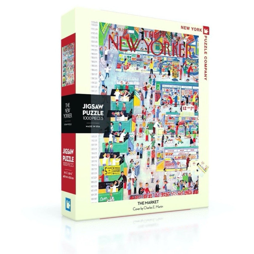 jigsaw puzzle box of the new yorker magazine cover of people shopping in a grocery store