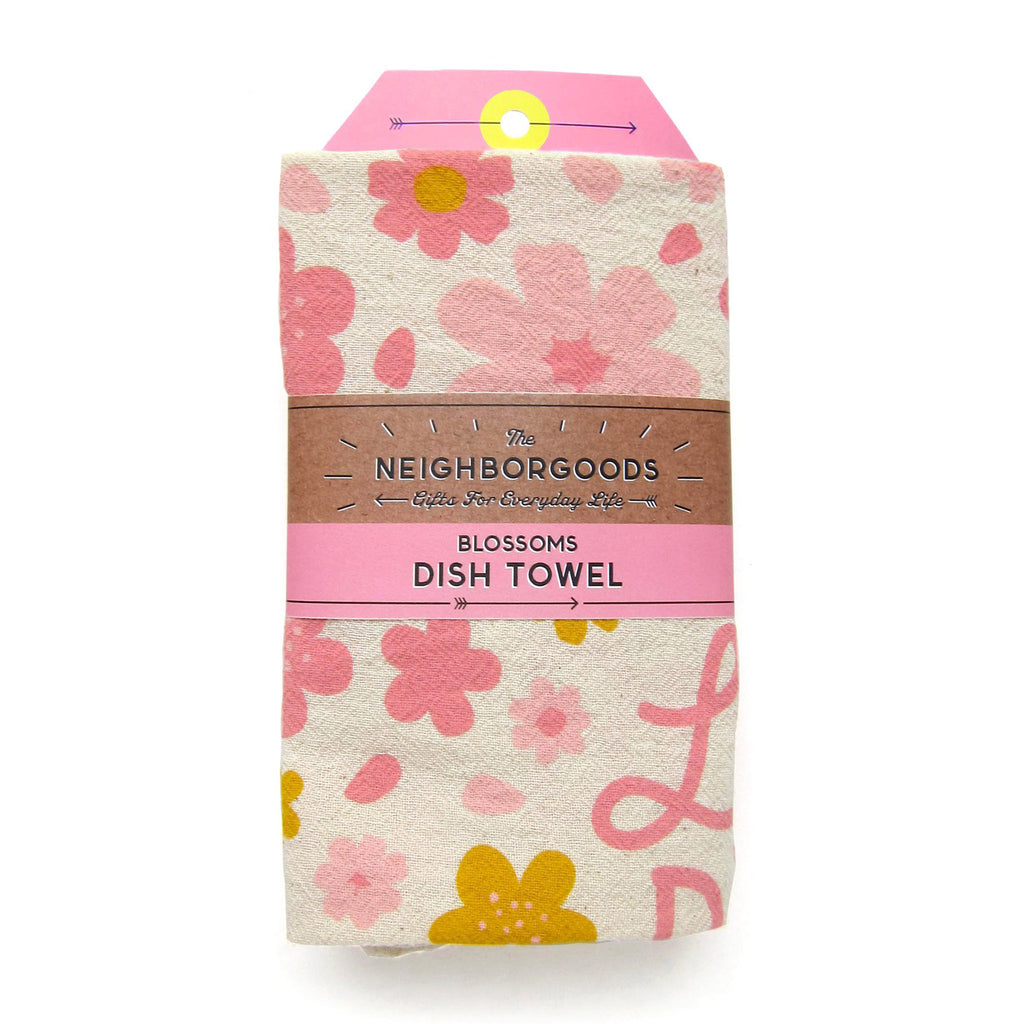 the neighborgoods cherry blossom kitchen dish towel in packaging