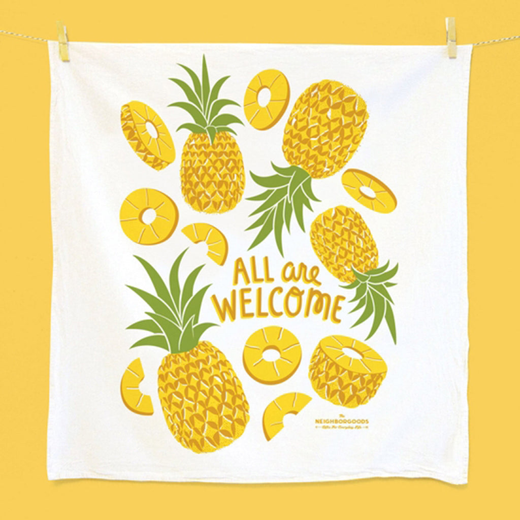 the neighborgoods shake your fruity set of three dish towels pineapple kitchen towel
