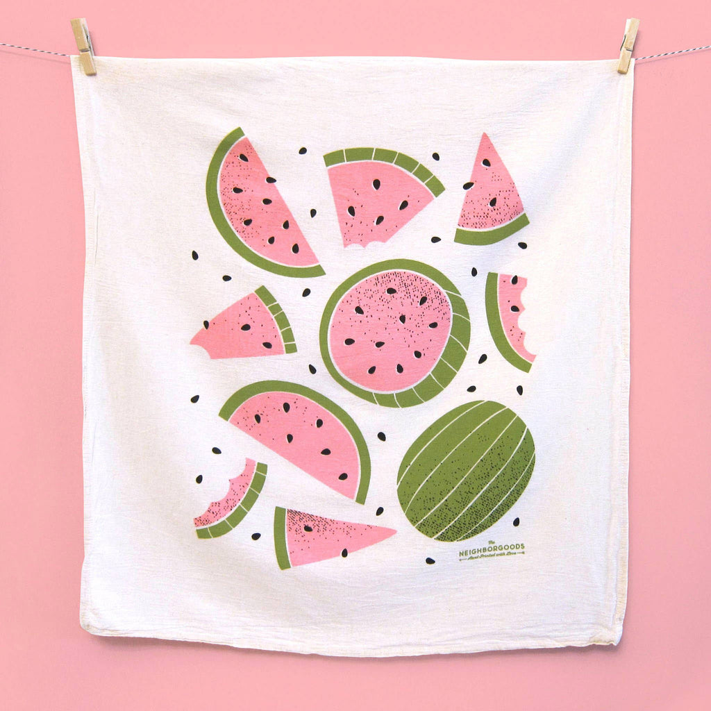 the neighborgoods shake your fruity set of three dish towels watermelon kitchen towel