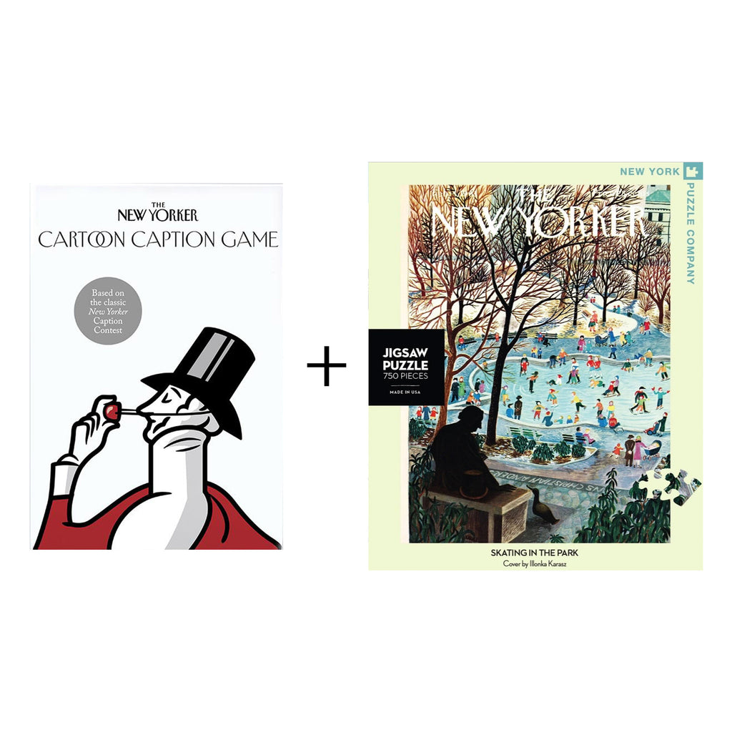 classic new yorker gift box with the new yorker cartoon caption game and new yorker cover skating in the park 750 piece jigsaw puzzle
