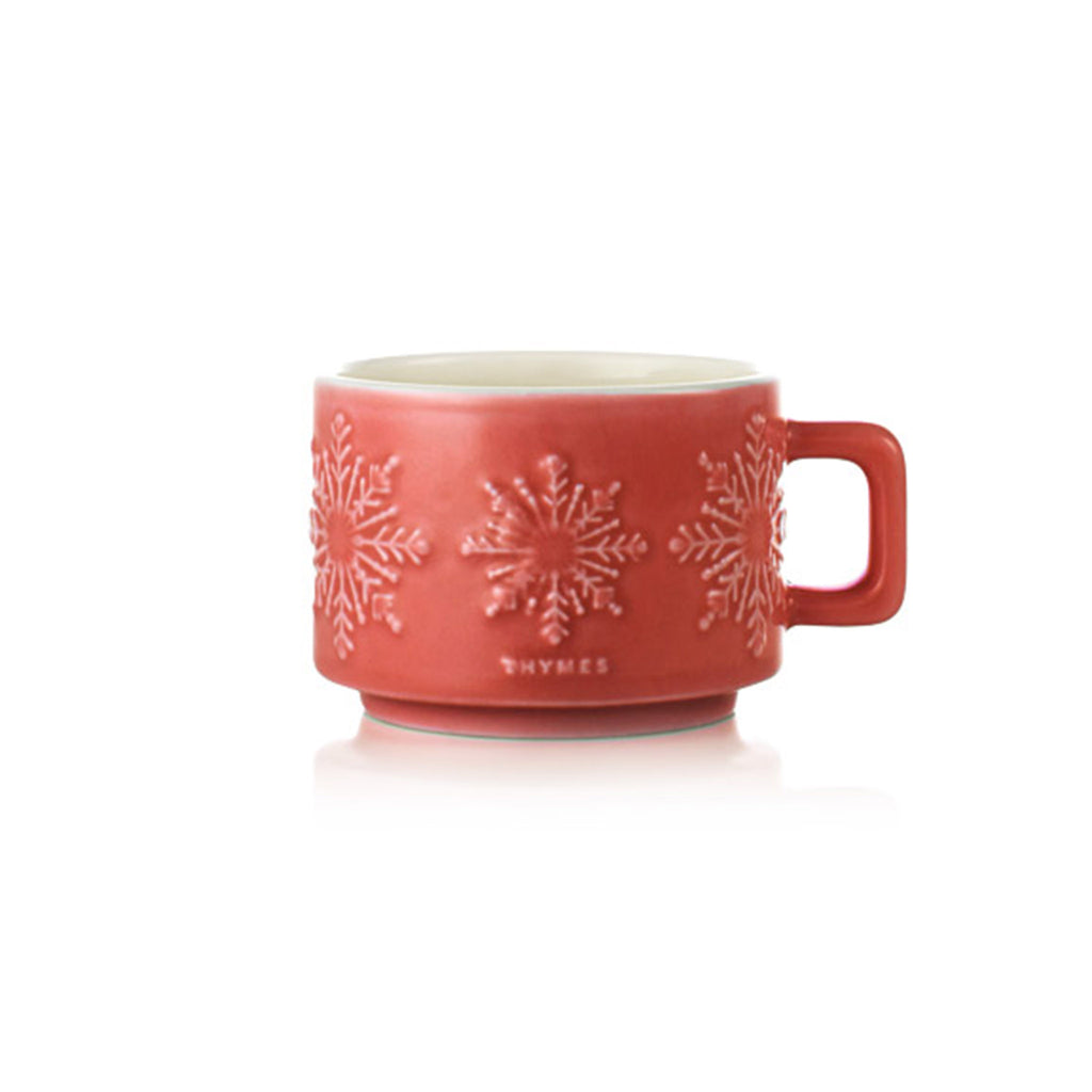thymes dark chocolate hot cocoa scented candle in small red ceramic mug with snowflakes holiday christmas winter home fragrance