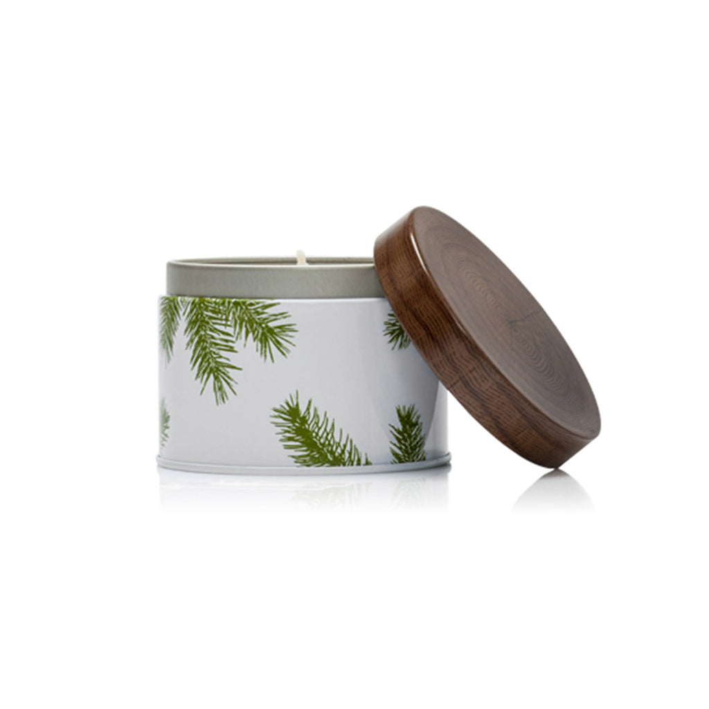 thymes frasier fir candle tin open with lid