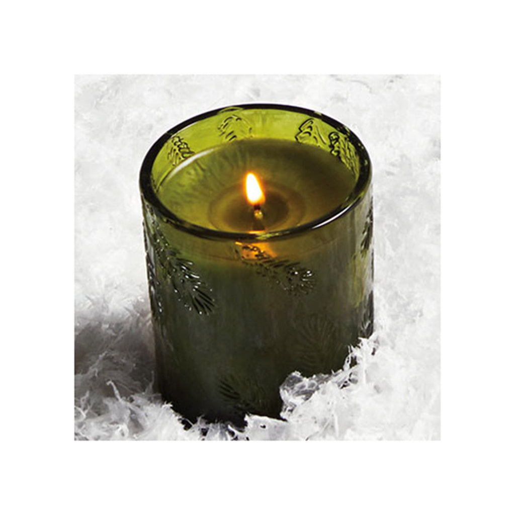 thymes frasier fir molded green glass candle lit