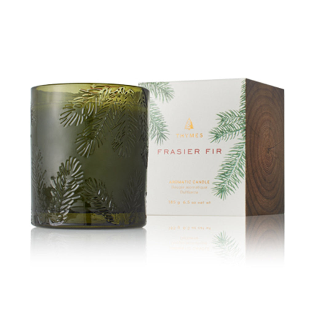 thymes frasier fir molded green glass candle with box