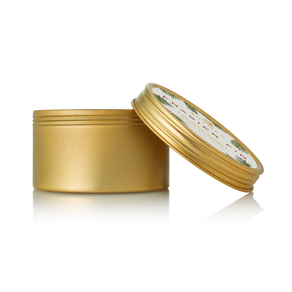 thymes frasier fir gold travel tin with lid candle