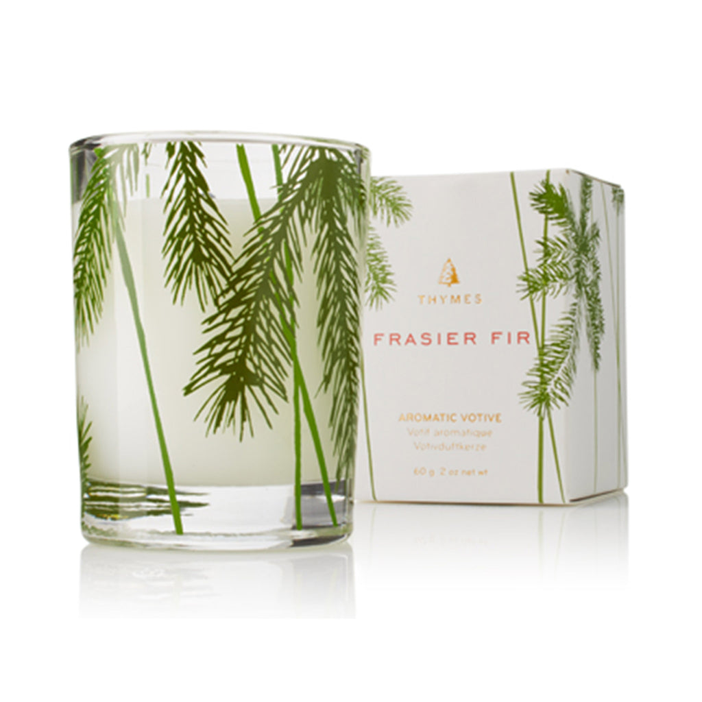 thymes frasier fir pine needle votive candle with box