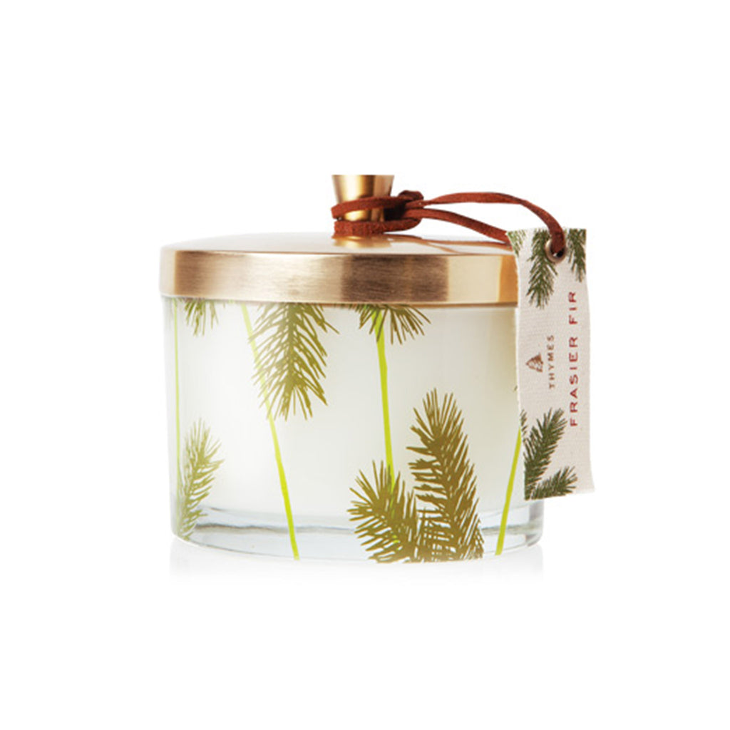 thymes frasier fir scented heritage pine needle 3-wick candle holiday christmas home fragrance