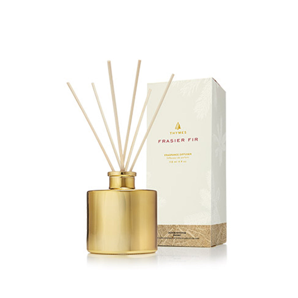 thymes frasier fir scented petite gilded gold reed diffuser holiday christmas home fragrance