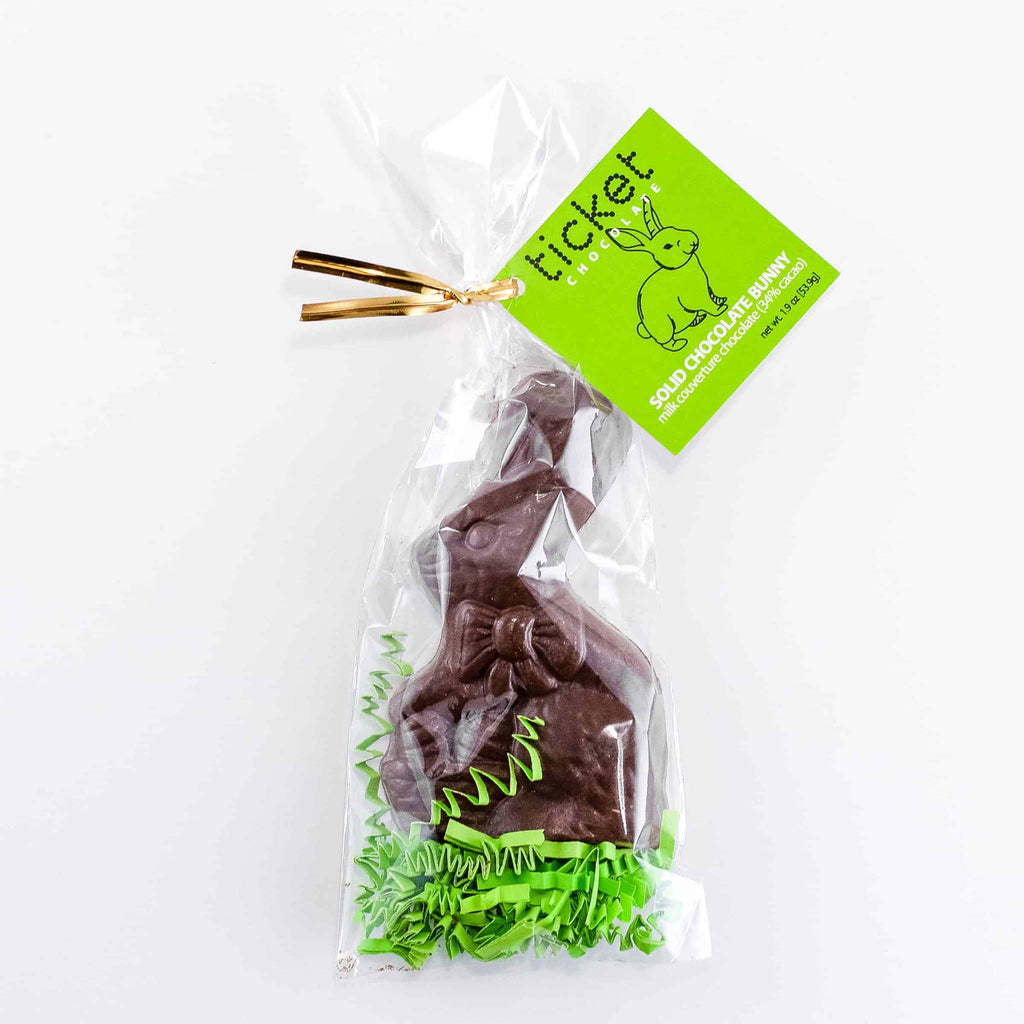 ticket chocolate solid milk chocolate easter bunny in packaging
