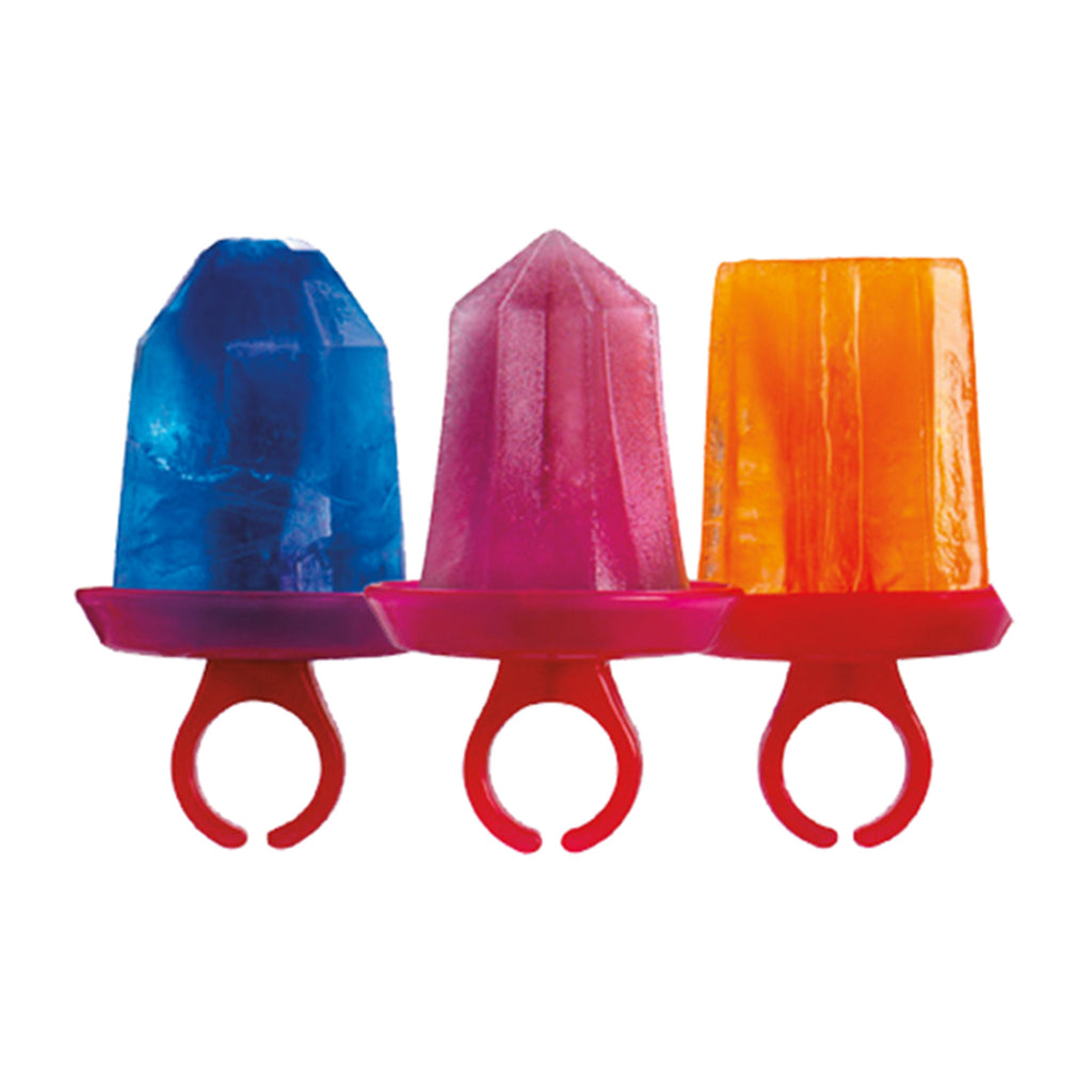 tovolo jewel pop molds jewel shaped ice pops in blue pink and orange