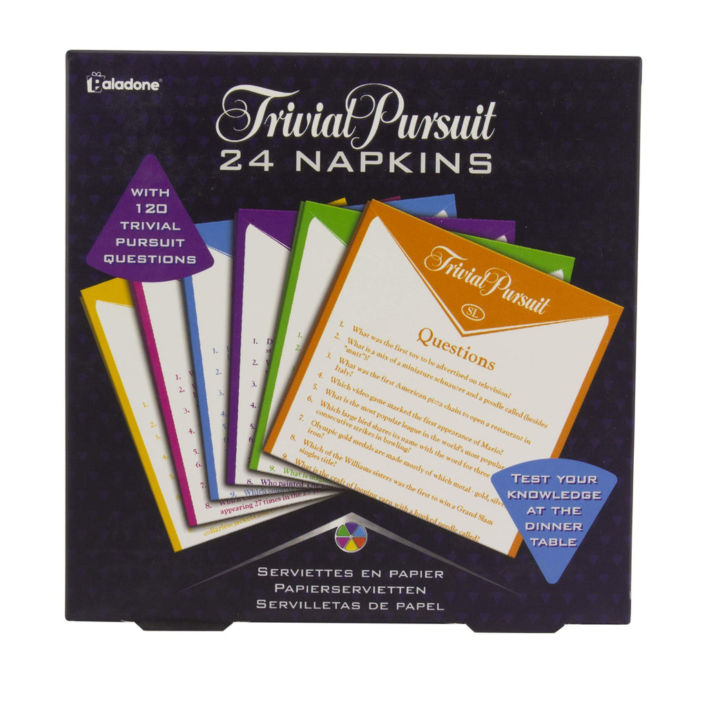 trivial pursuit napkins in black gift box with napkin illustration