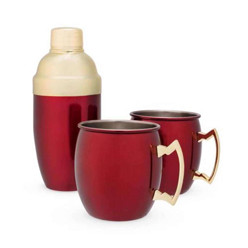 holiday mule mug cocktail shaker set in metallic red empty