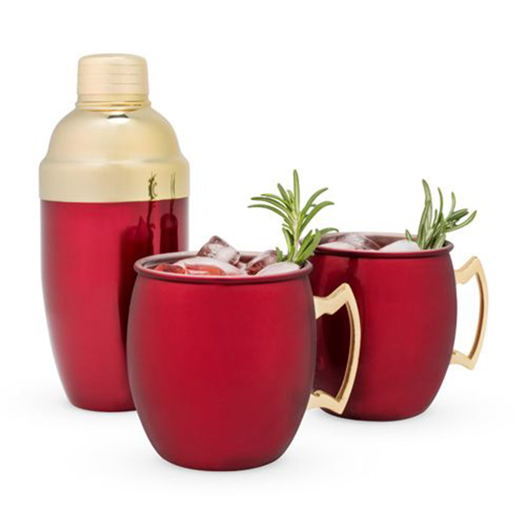 holiday mule mug cocktail shaker set in metallic red with beverage