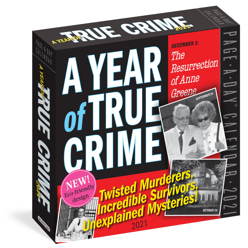 a year of true crime page a day calendar with black and white photographs from historic crimes