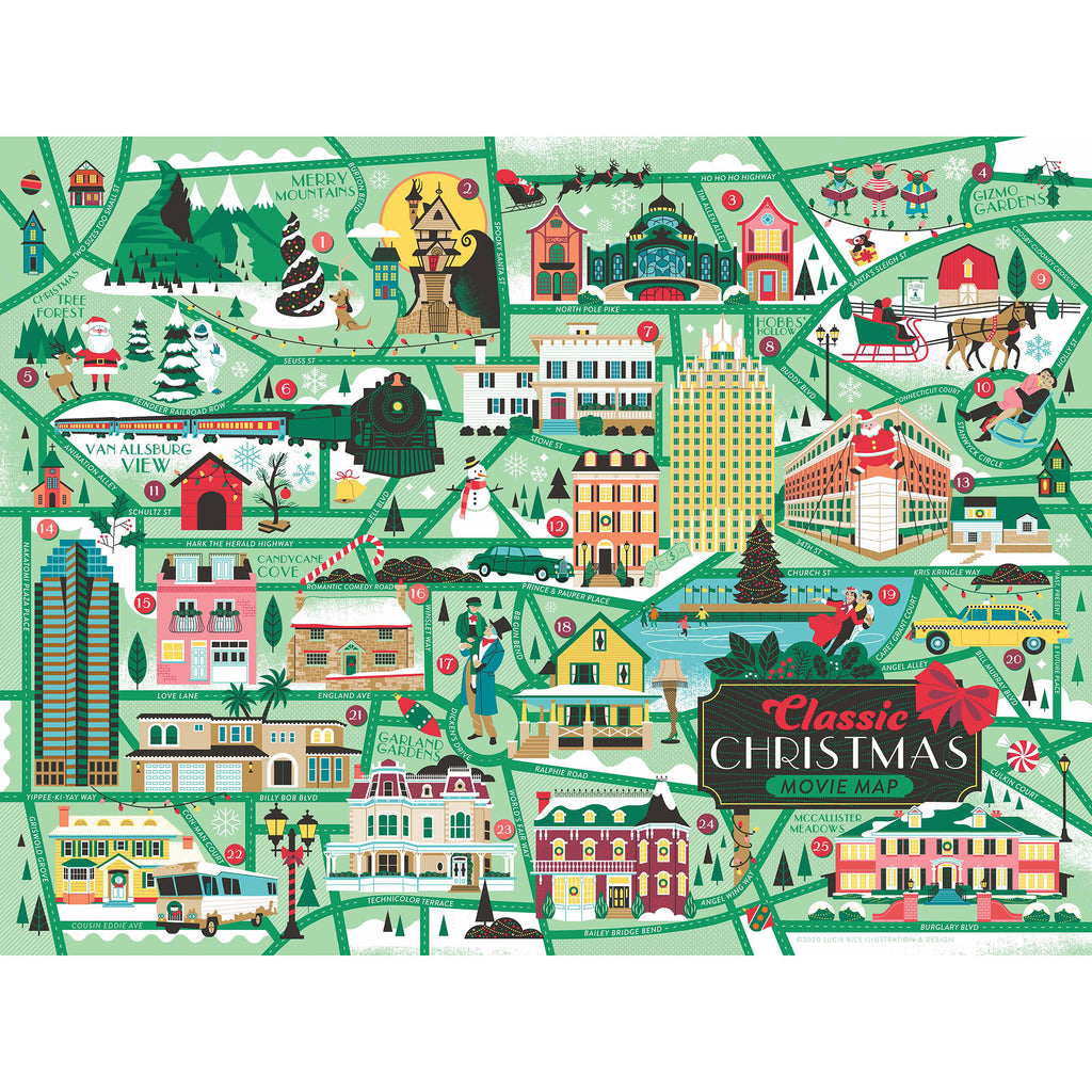 true south 500 piece classic christmas movie map jigsaw puzzle original artwork