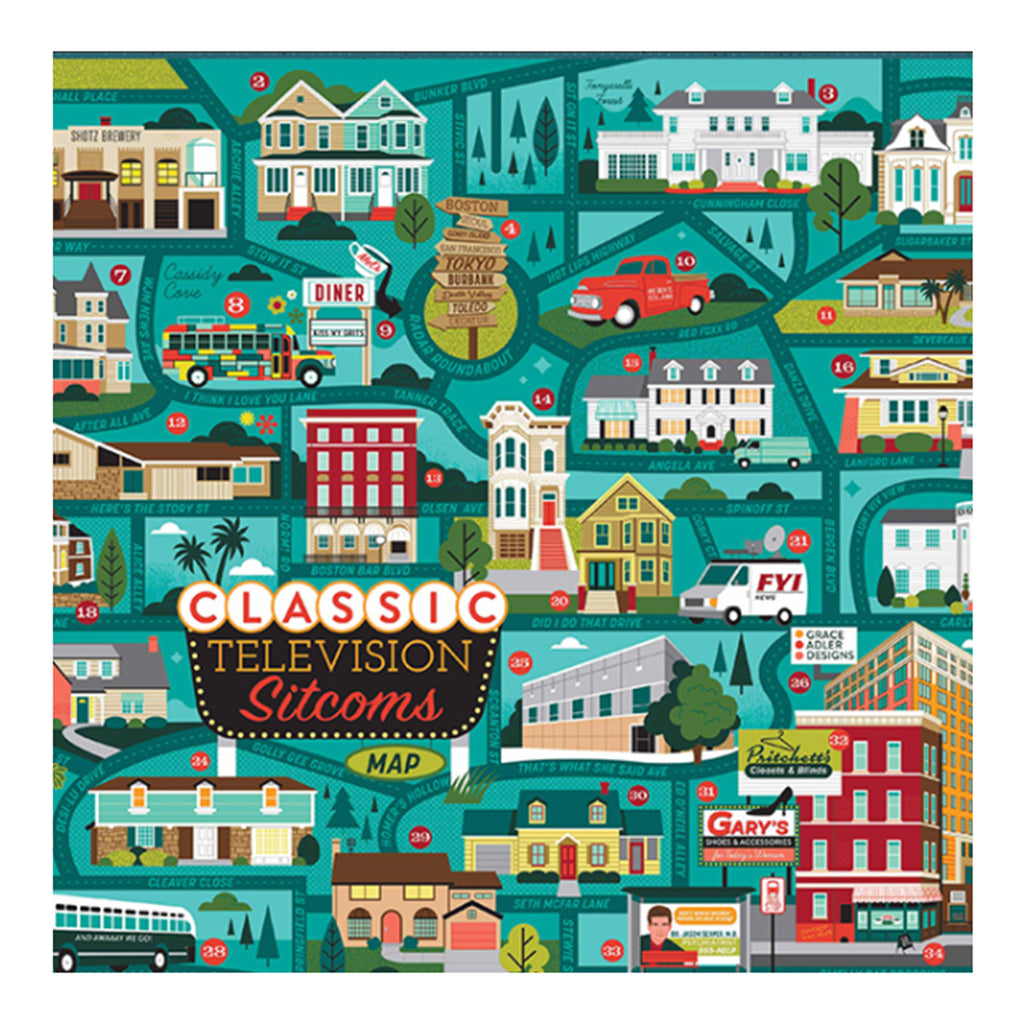 true south 500 piece classic television sitcoms map jigsaw puzzle detail