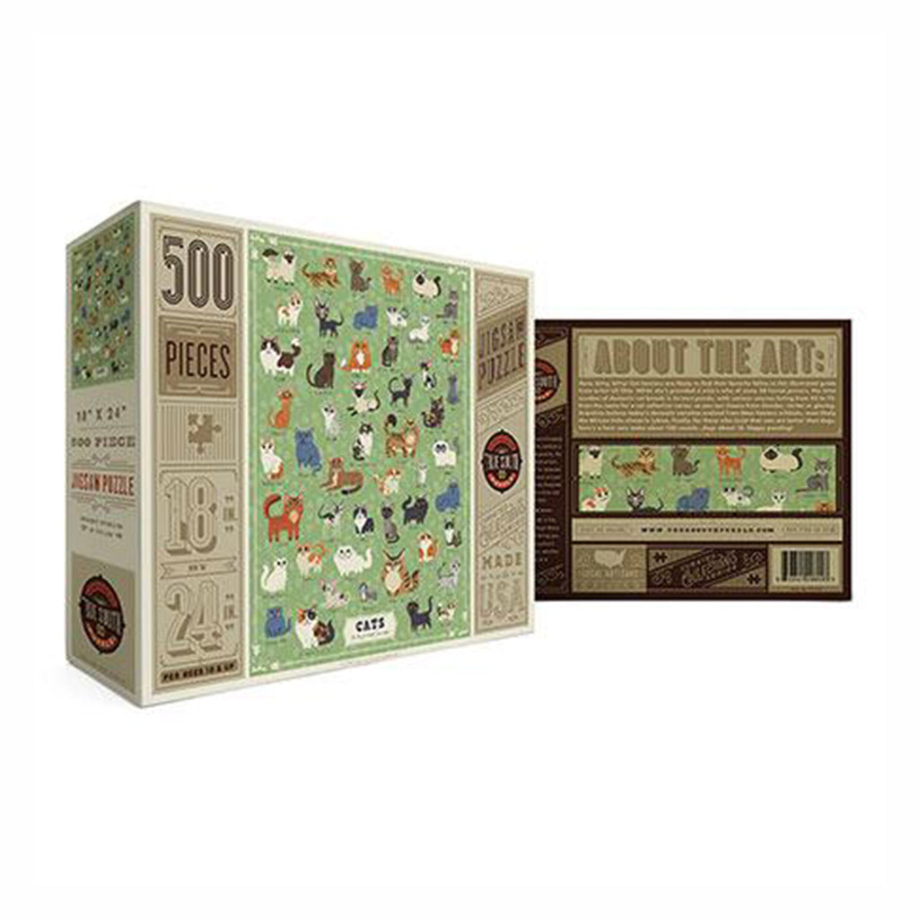 true south 500 piece illustrated cats jigsaw puzzle box front and back