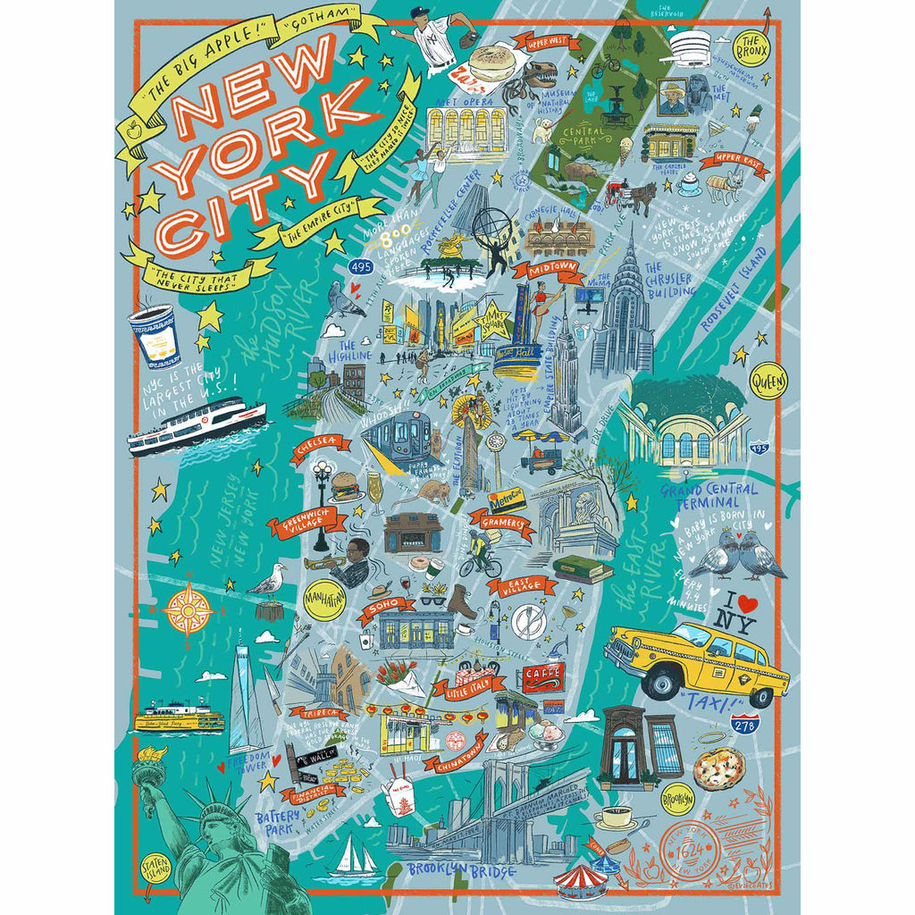 true south 500 piece illustrated nyc jigsaw puzzle original artwork