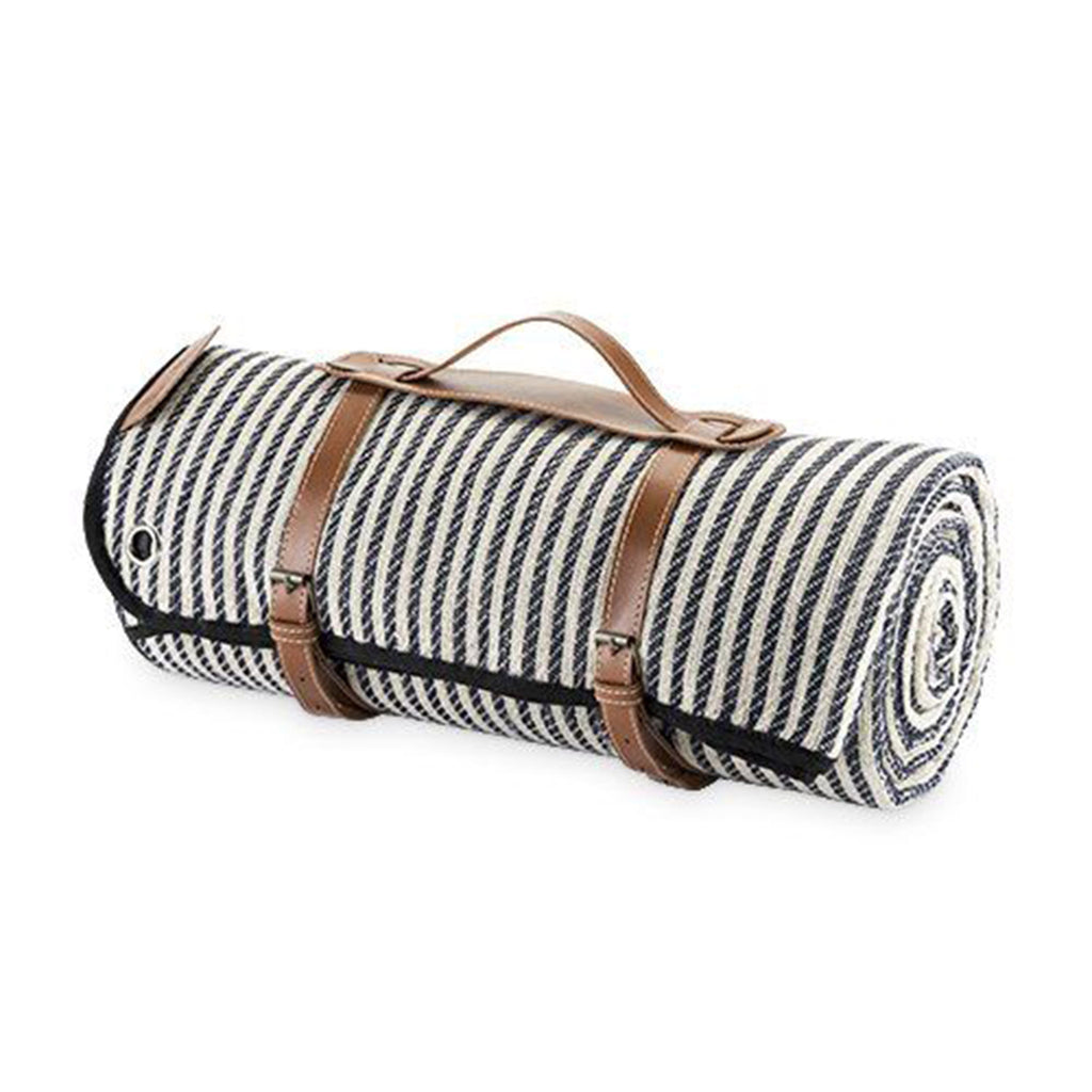 twine seaside striped picnic blanket with carrier stakes rolled up