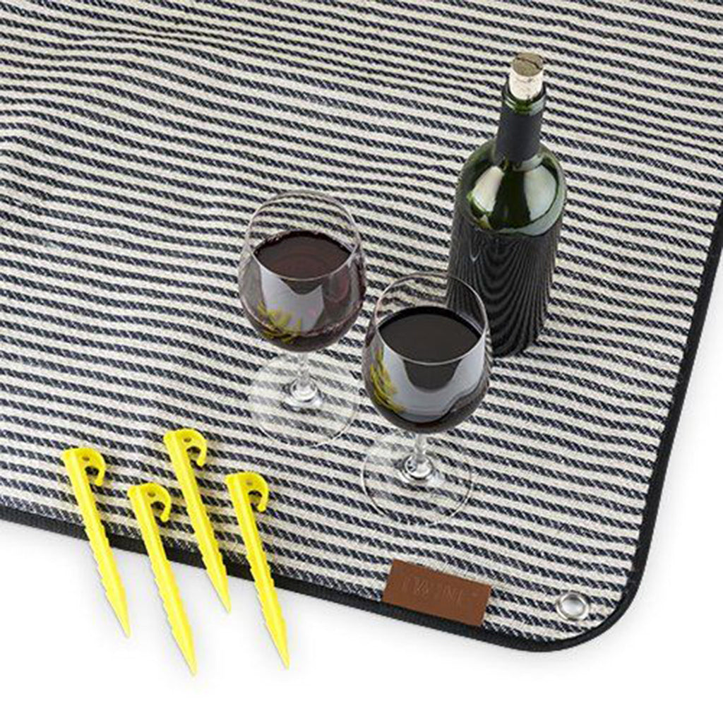twine seaside striped picnic blanket with carrier stakes and a bottle of wine