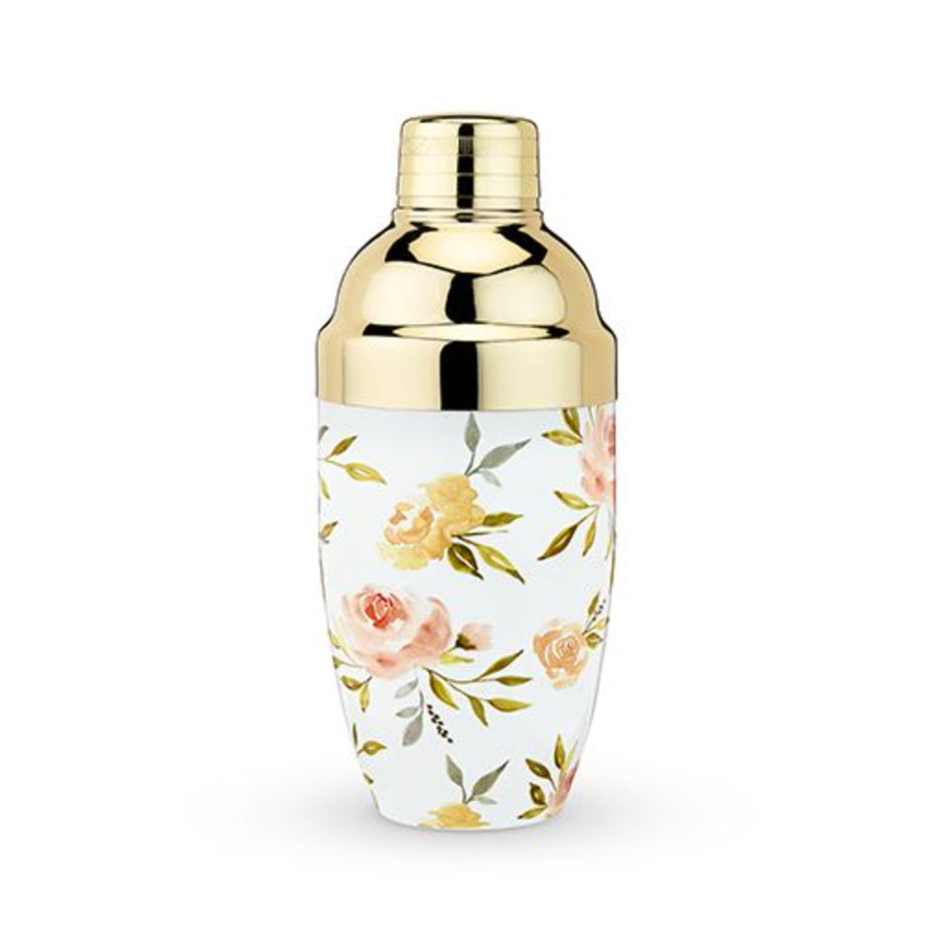 twine watercolor floral cocktail shaker