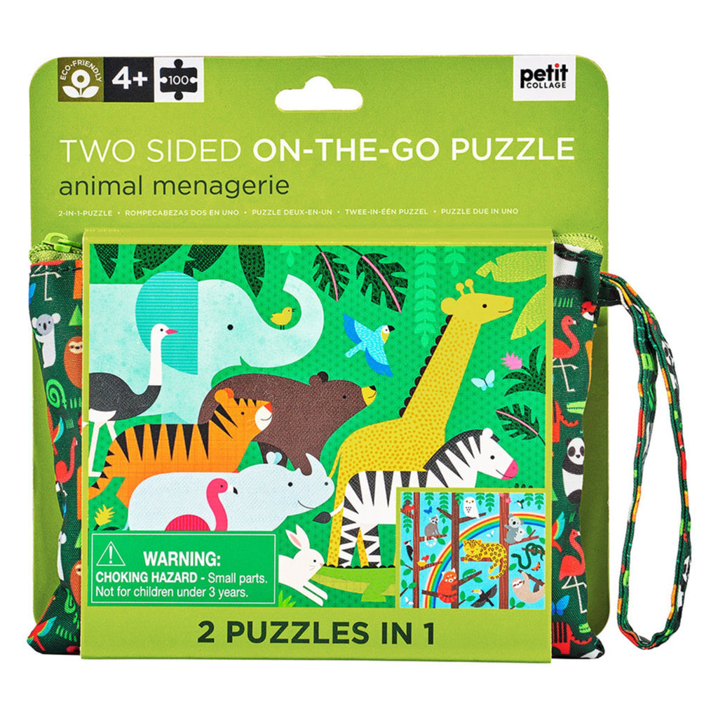 100 piece two sided on the go puzzle in animal menagerie theme