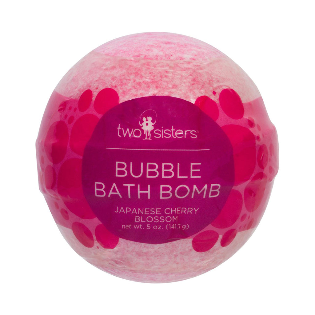 two sisters spa japanese cherry blossom pink scented bubble bath fizzer in packaging