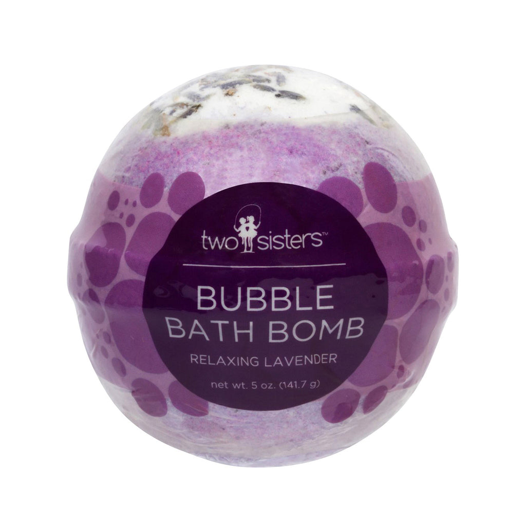 two sisters spa relaxing lavender scented purple bubble bath bomb fizzer in packaging