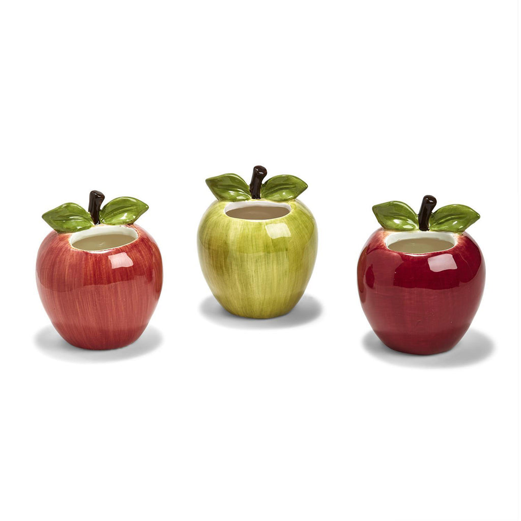 two's company apple of my eye vase pencil holder in solid red or green or striped red