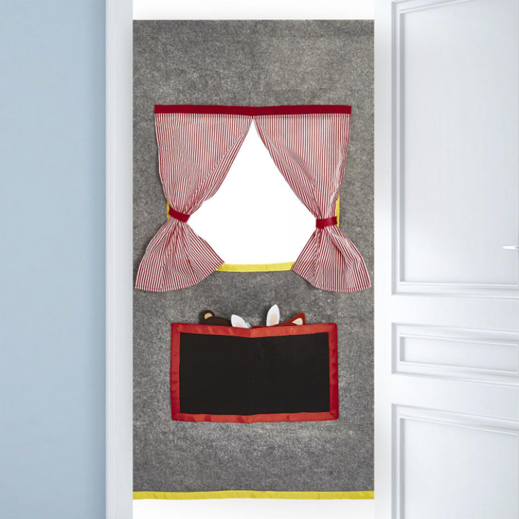 two's company doorway play diy make your own puppet theater kit installed in doorway