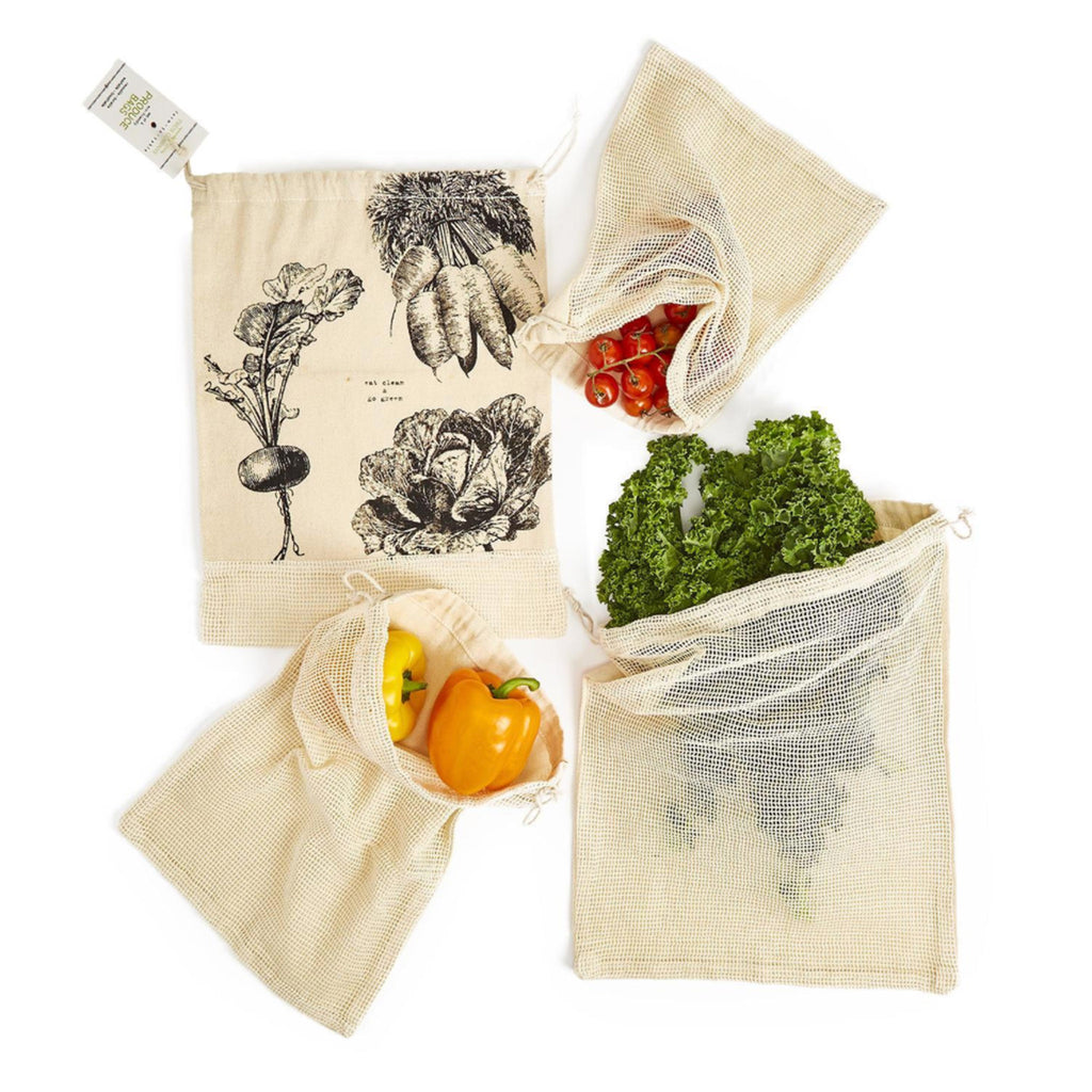 twos company eat clean go green washable cotton reusable durable breathable produce bags set of four with veggies