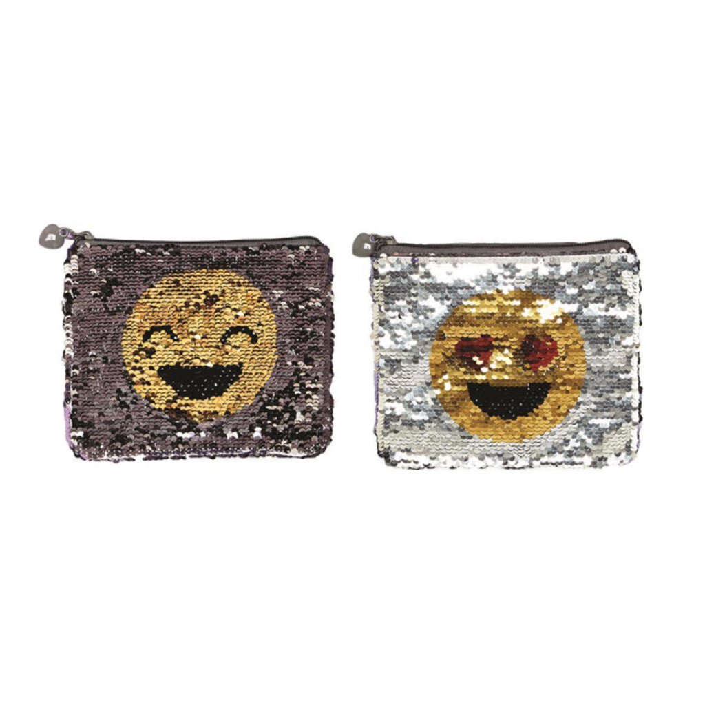 twos company emoji reversible changing sequin zippered pouch laughing style
