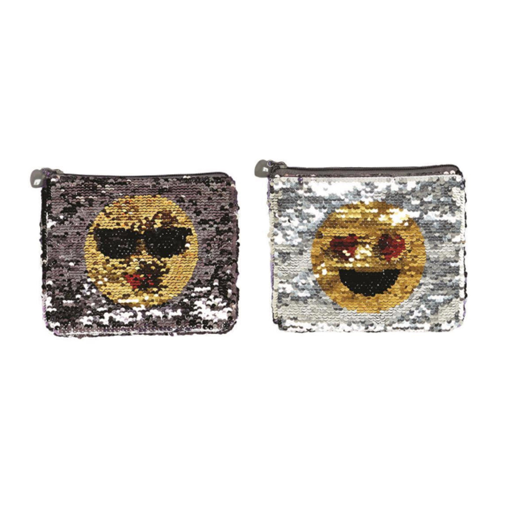 twos company emoji reversible changing sequin zippered pouch sunglasses style