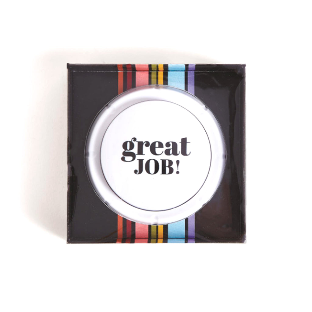 two's company great job desktop button in gift box with ten recorded sayings