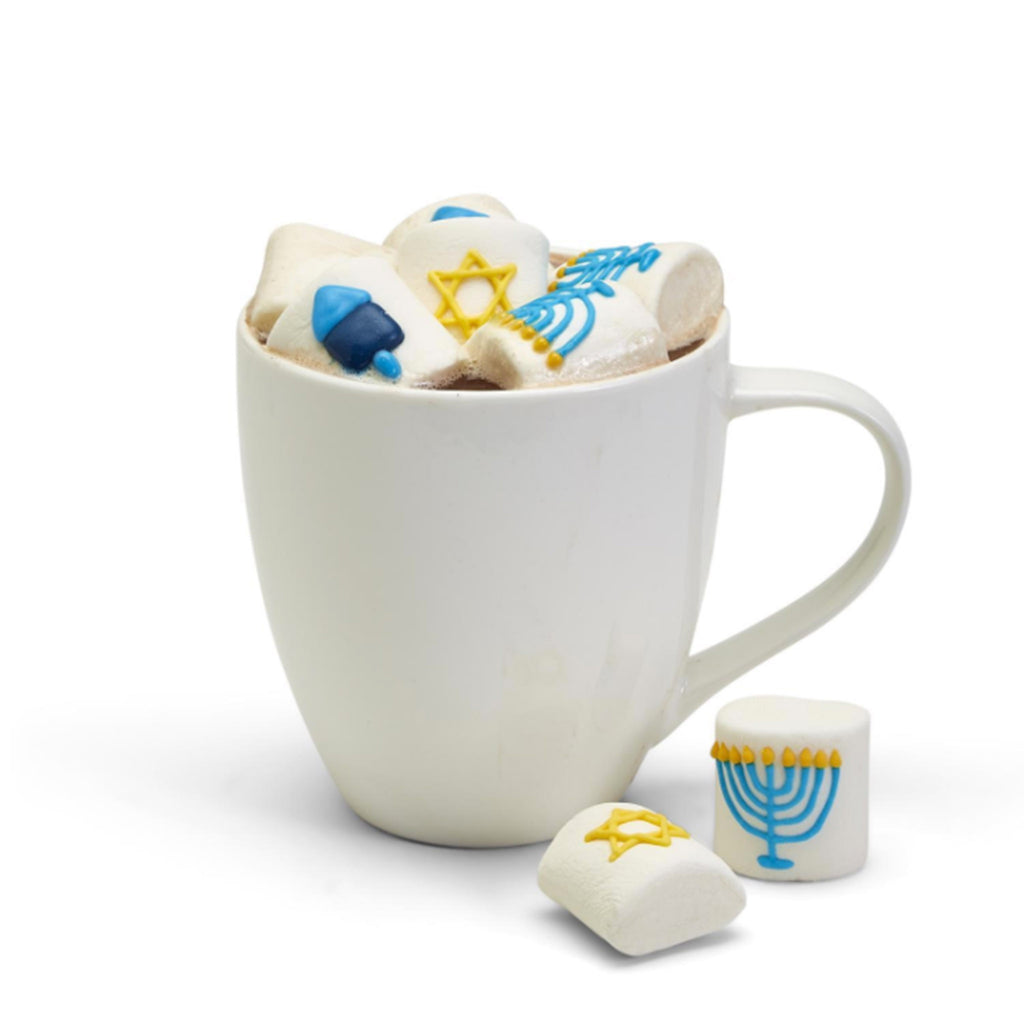 two's company hanukkah themed marshmallows in mug of hot chocolate