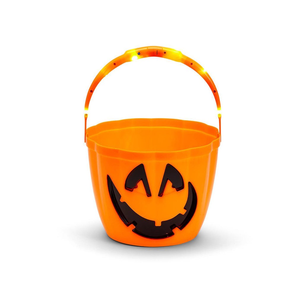 two's company jack-o-lantern trick or treat candy bucket with light up handle on white background