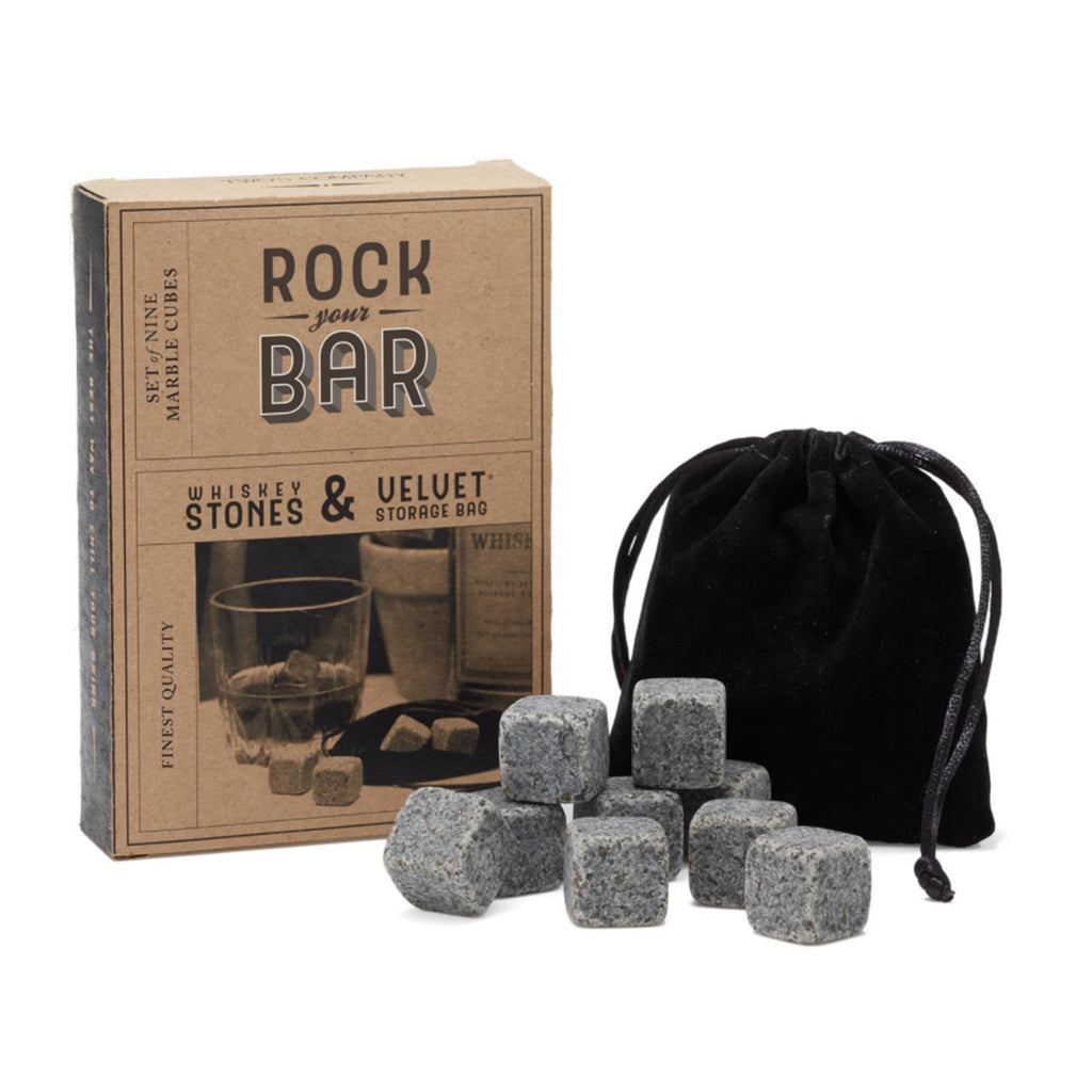 two's company rock the bar whiskey stones with velvet pouch with gift box packaging