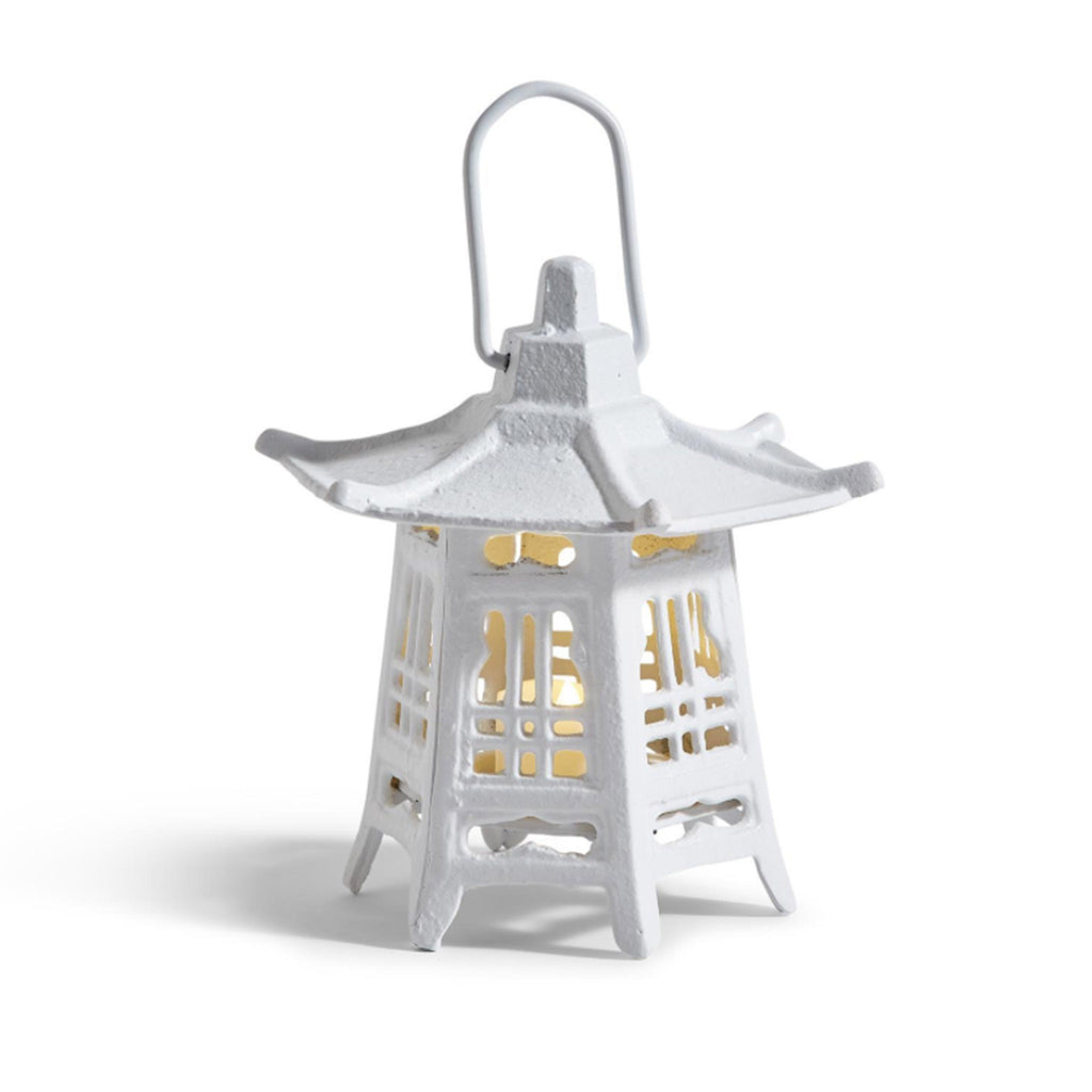 two's company vintage cast iron white pagoda lantern tealight candle holder with candle lit