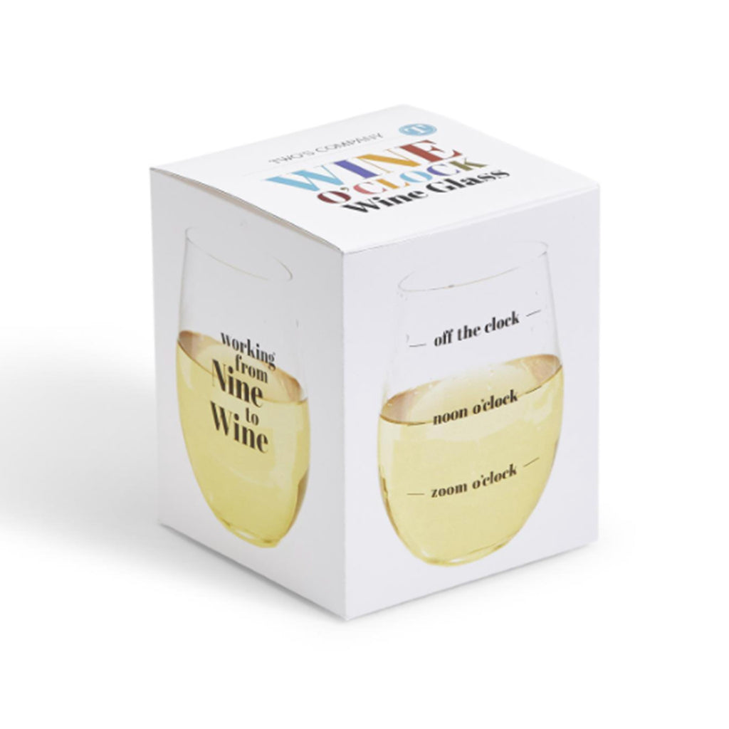 two's company wine o'clock stemless wine glass gift box