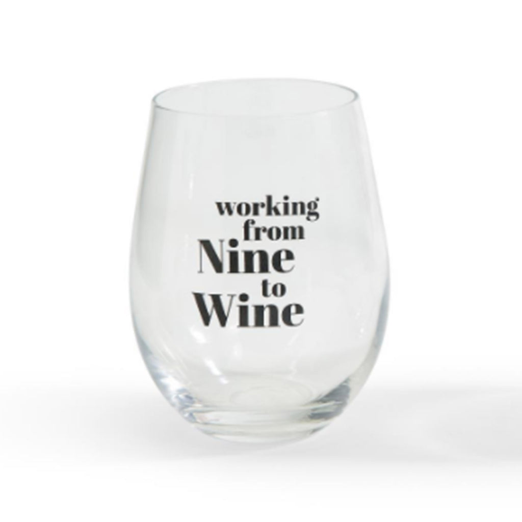 two's company wine o'clock stemless wine glass that says working from nine to wine on the front