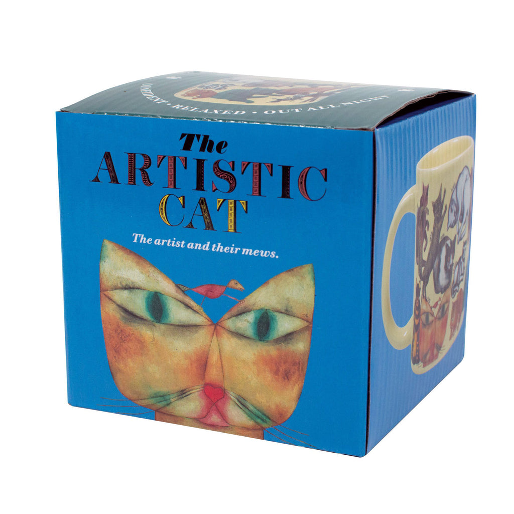 the unemployed philosophers guild the artistic cat ceramic mug packaging