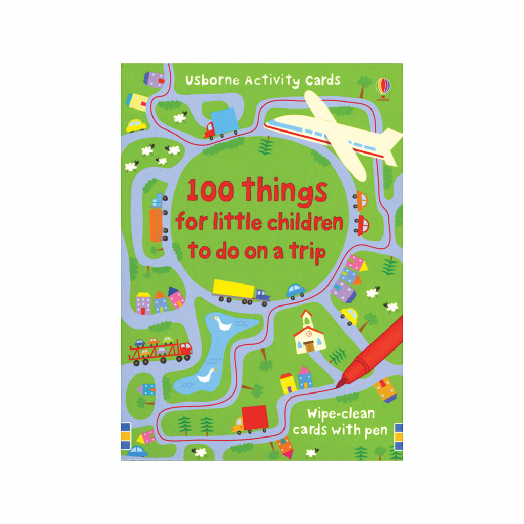 usborne 100 things for little children to do on a trip cards reusable kids travel games box cover