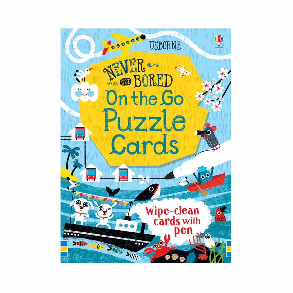 usborne never get bored on the go puzzle cards reusable kids travel games box cover