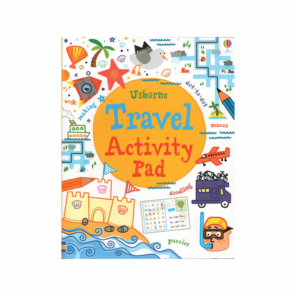 usborne travel activity pad kids games book cover